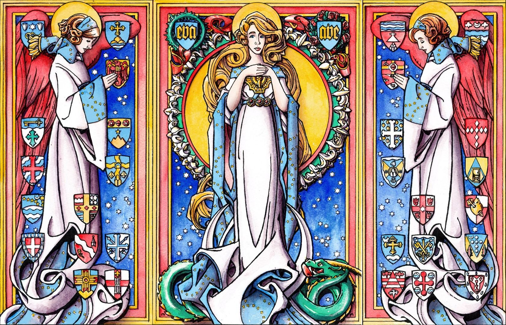 The Immaculate Conception A Triptych Style Folding Christmas Card