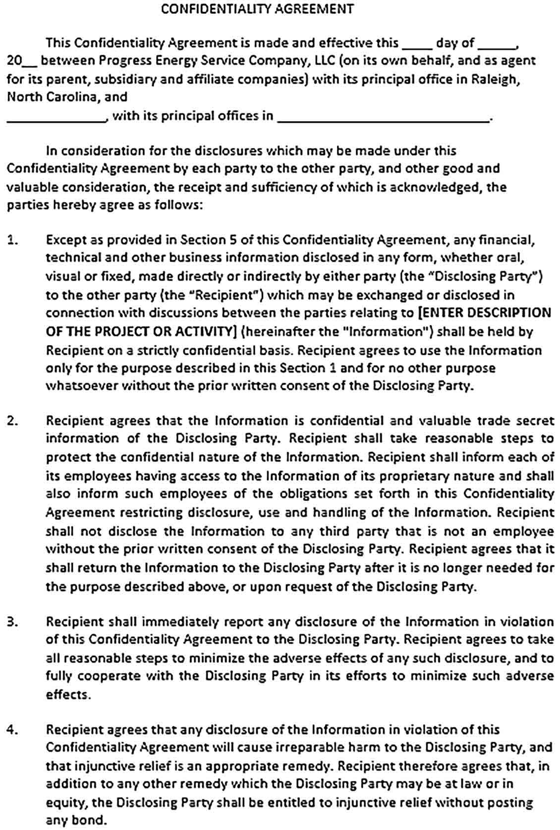 Confidentiality Agreement Forms Template Sample