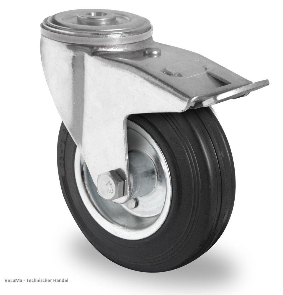Transportrollen Schwerlastrolle Lenkrolle mit Bremse 200mm Polyurethan Rad Rolle