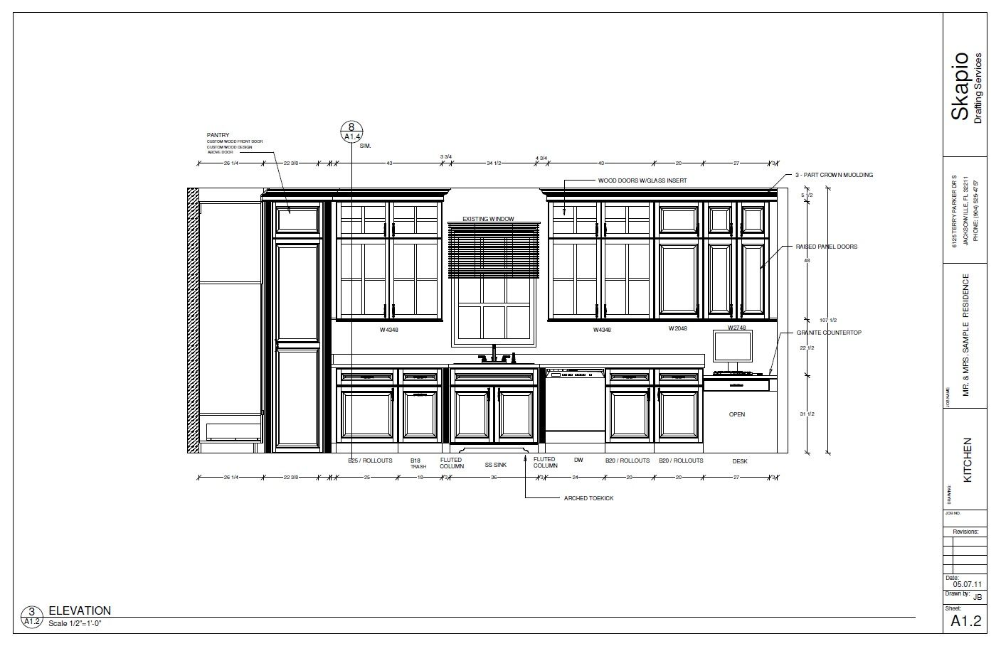 Kitchen Plan Elevation : Sample kitchen elevation shop drawings pinterest