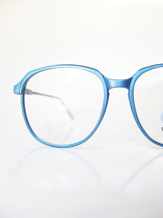 6dbf5d7f91 Metallic Blue Eyeglasses 1970s Oversized Womens Ladies Glasses Eyeglass Frames  Round Ice Baby Frost Shiny Optical 70s Japan Carbon