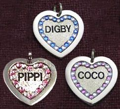 Front Engraved Jeweled Silver Dog Tag (1-3 weeks production time)   Item #: ANI-TAG-FEJ    $72.95   Glamour Dog