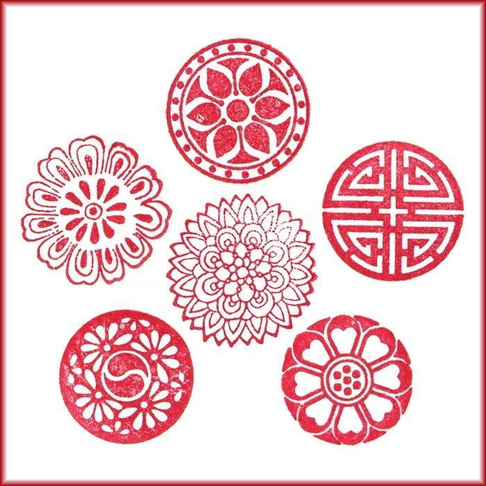 Qoo10 6pcs Korean Traditional Pattern Design Symbol Motif Rubber