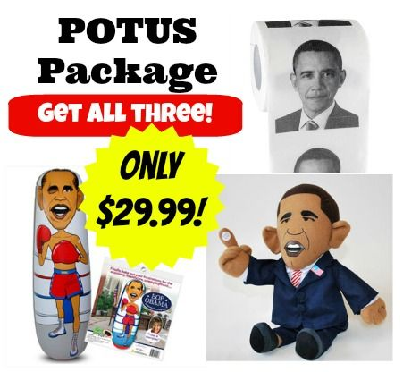 Nobama gifts! Get all three for $29.99--Obama toilet paper + bop obama punching bag + pootin'tootin' obama doll! Great gift for Republican, or anyone fed up with the Obama administration! Jackass Toys