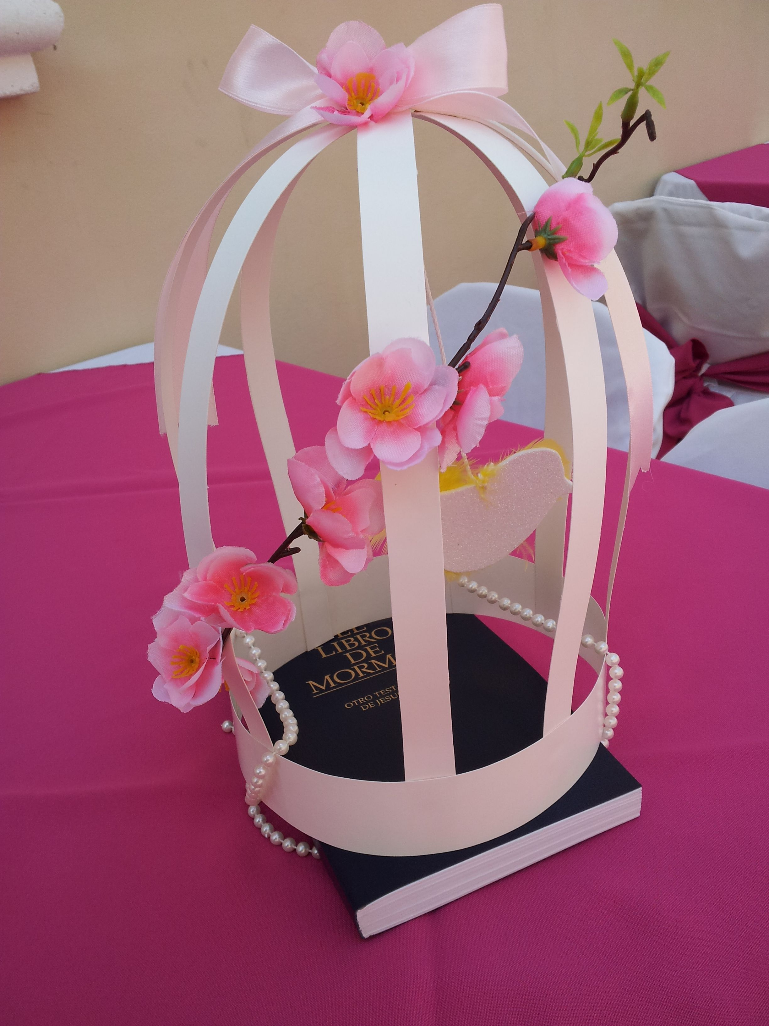 SUD Baptism birdcage, pearls and book of mormon Center Piece ...