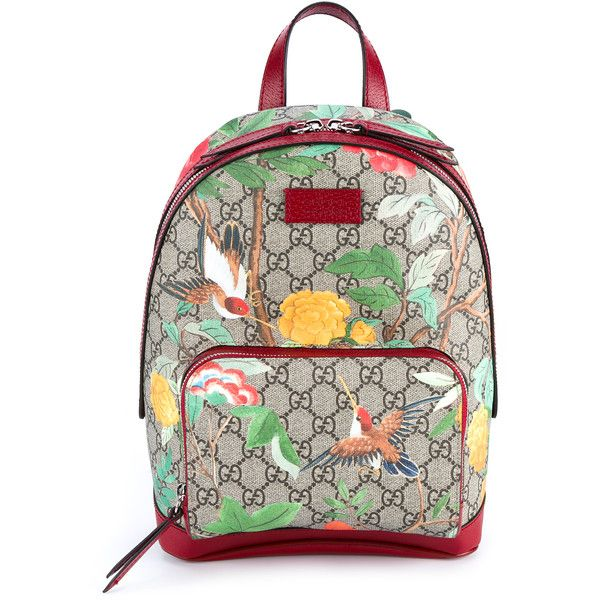 b298ea1e4c9e Gucci Tian Garden Canvas Backpack ($920) ❤ liked on Polyvore featuring  bags, backpacks, white floral backpack, canvas zipper bag, retro backpack,  ...
