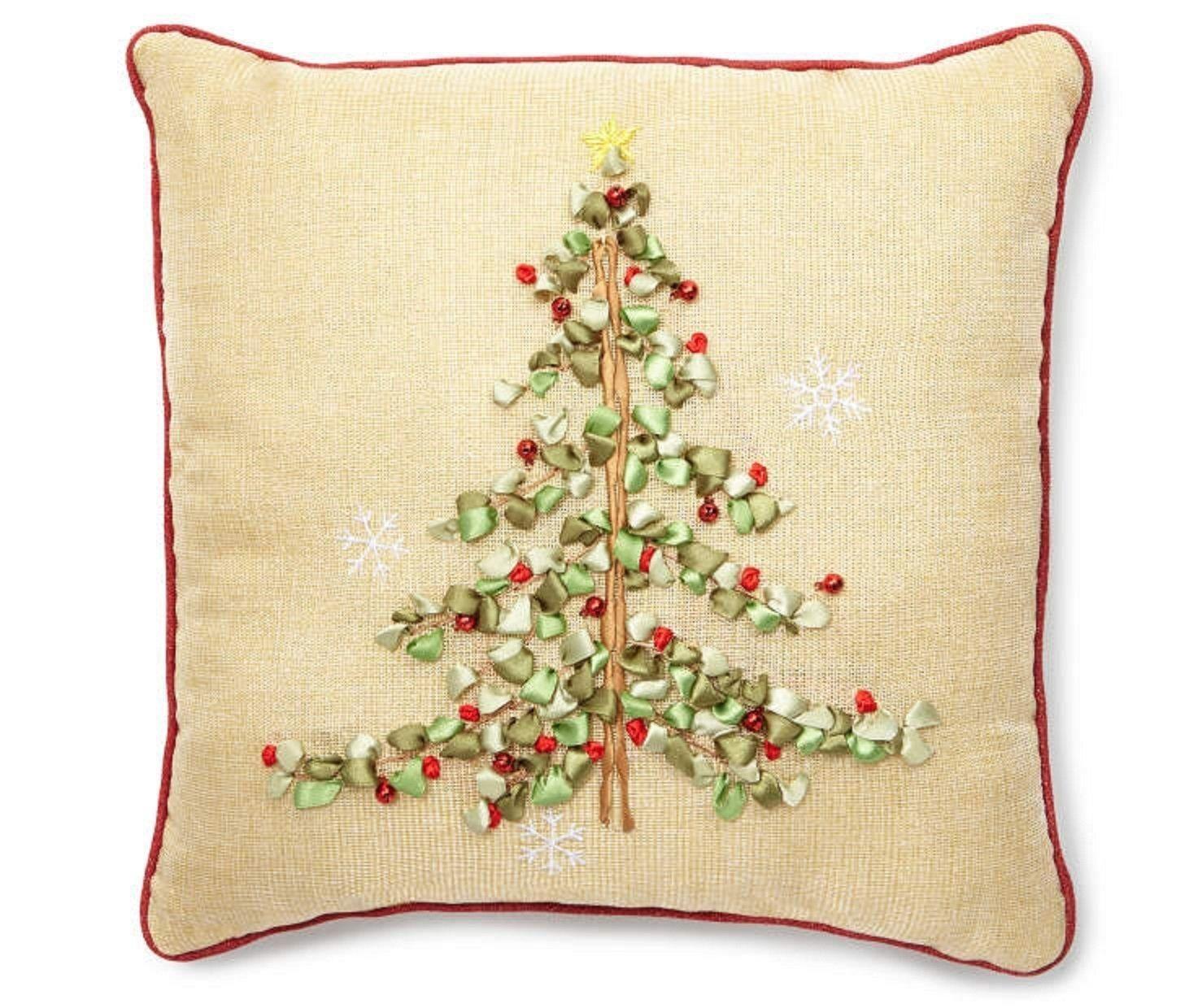 Ribbon Christmas Tree Decorative Throw Pillow Decorative Pillows Christmas Throw Pillows Pillows
