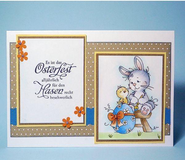 "blog.karten-kunst.de - Osterhasen habens schwer. Wee Stamps Easter Bunny, Karten-Kunst Clear Stamp Set Weise Worte ""Ostern"""