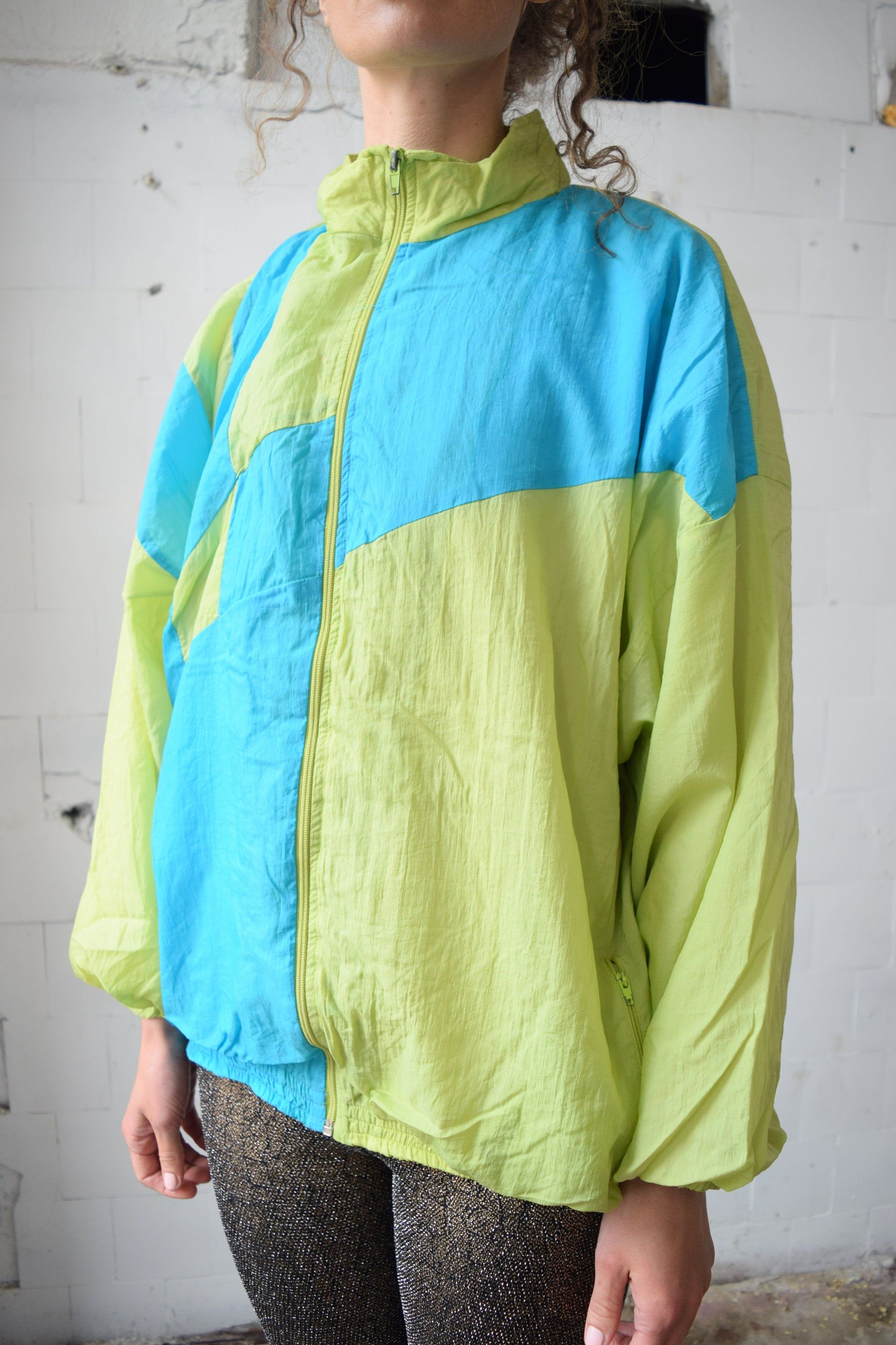 NEON vintage workout jacket, Green and blue, Spring