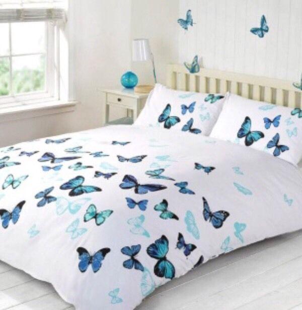 Blue Turquoise White Butterflies Butterfly Double Duvet Set New Girls Bedroom Girls Bedroom Duvet Sets Double Duvet Set
