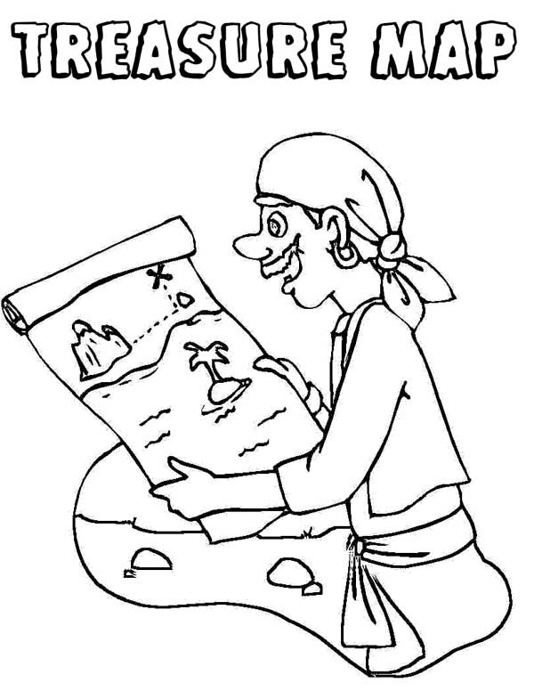 Pirate And Treasure Map Coloring Page Kids Play Color di