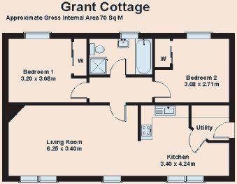 Floor Plan Of Grant Cottage Luxury Self Catering Holiday Accommodation In Highlands Scotland Cottage Plan Holiday Accommodation Floor Plans