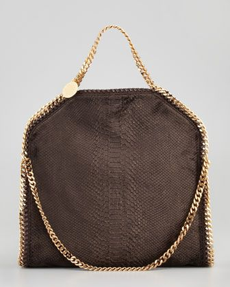 Stella McCartney Falabella Snake-Embossed Fold-Over Bag, Bronze - Neiman Marcus