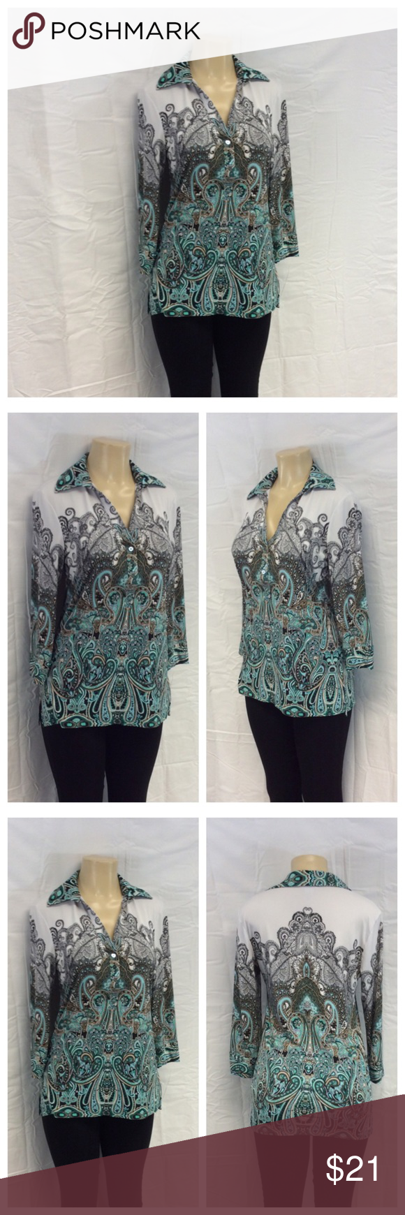 """CADRE LADIES ABSTRACT DESIGN TOP CADRE LADIES ABSTRACT DESIGN TOP, Size M, 96% polyester, 4% spandex, hand wash. Approximate measurements are 20"""" bust laying flat, 16 1/2"""" shoulder seam to shoulder seam, 27 1/2"""" shoulder to hem, 18 1/2"""" sleeve from shoulder to end of sleeve. 0431 Cadre Tops"""