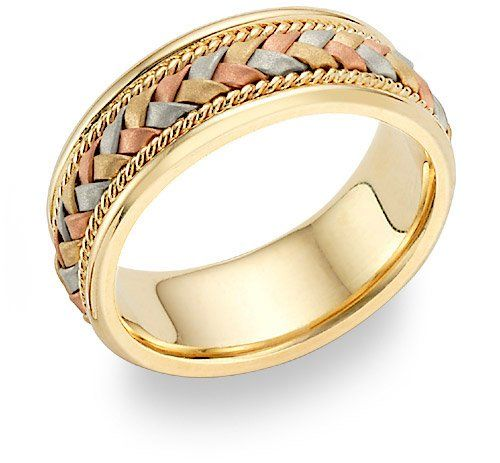Rose Gold And Tri Color Braided Wedding Band Ring High Quality Copper Is Mixed With Pure To