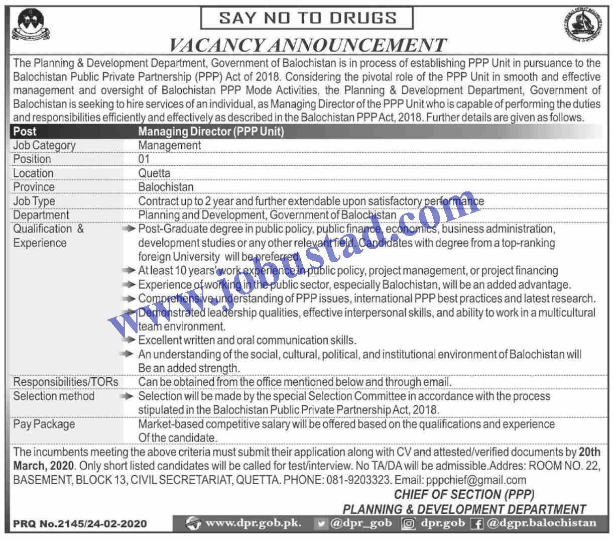 Planning and Development Department Jobs in Balochistan in