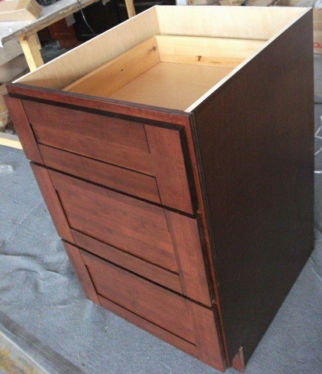 Bamboo Kitchen Cabinets - Brazilian Cherry Shaker 3 Drawer ...