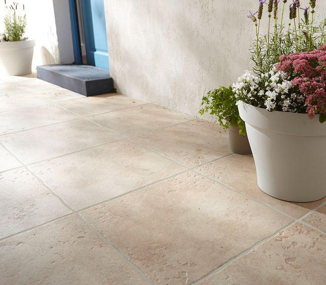 Terrasse  un carrelage imitation pierre naturelle Terrasse - pose carrelage terrasse sur dalle beton
