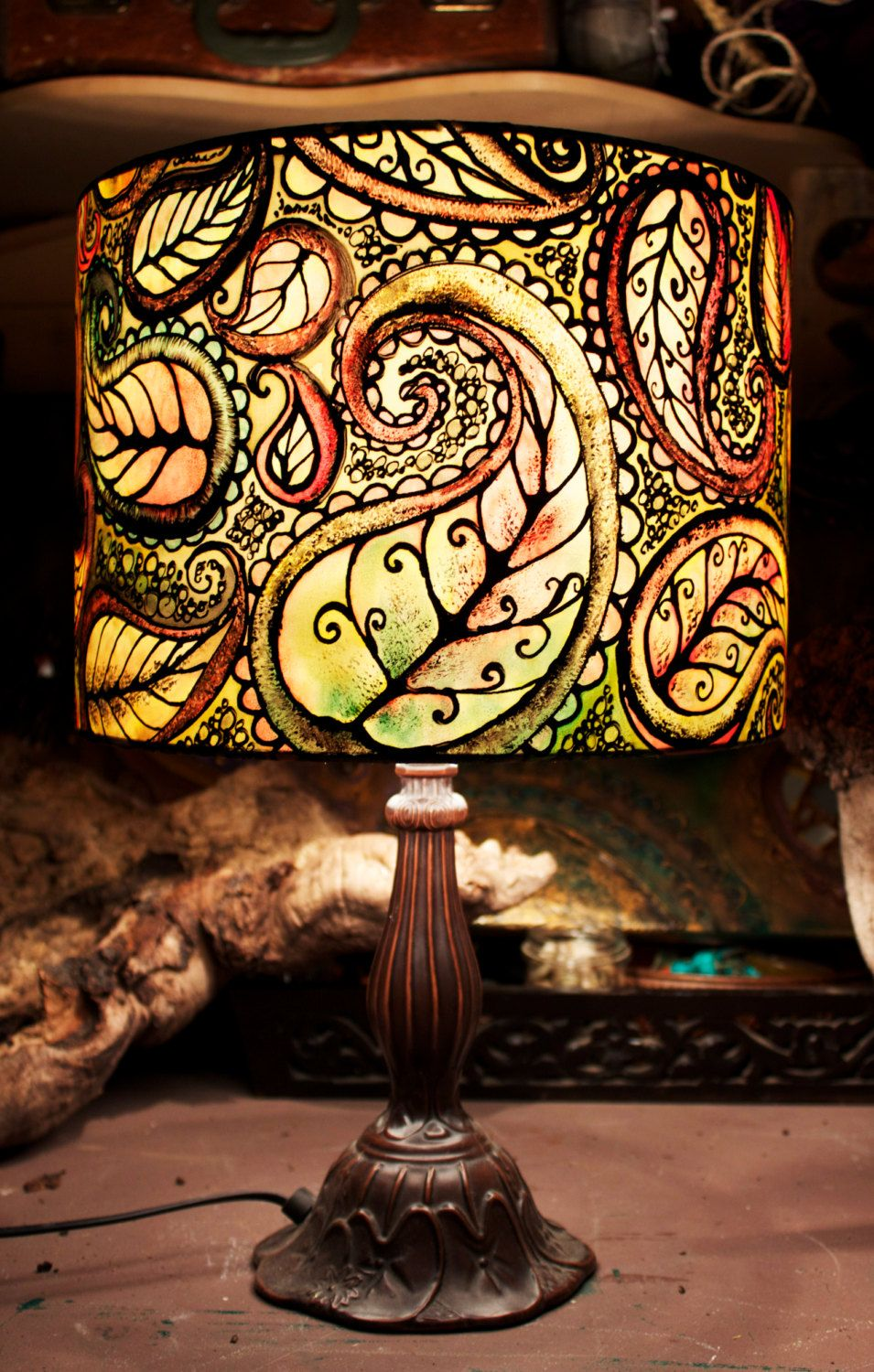 royal henna hand painted lamp shade hand painted lamp shades autumn leaf paisley hand silk painted lamp shade 30cm drum made to order
