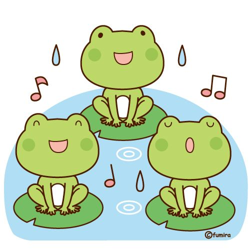 カエルの合唱のイラストソフト Fumi Watanabe Clipart2019
