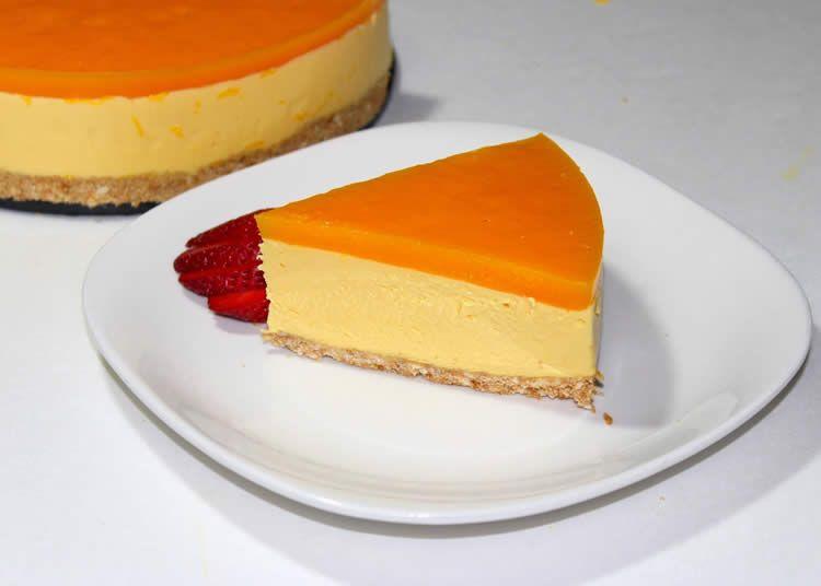 Cheesecake Orange Au Coulis De Mangue Avec Thermomix Coulis De Mangue Recette Dessert Cheesecake