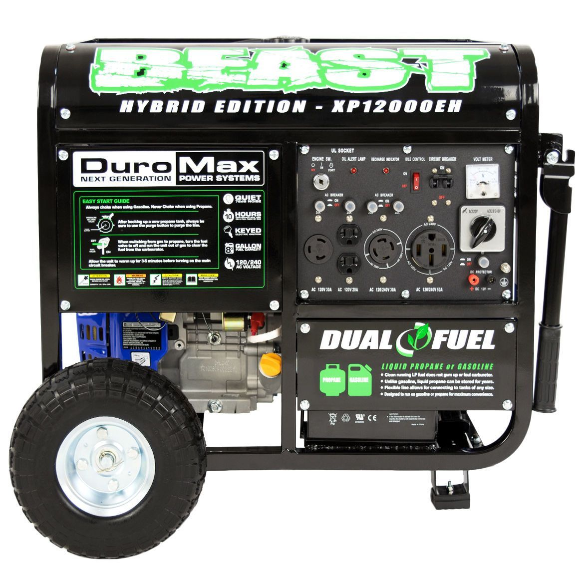 The Duromax Hybrid Dual Fuel Xp12000eh 12000 Watt Generator Offers Circuit Breaker Dc Maximum Versatility And Will Have You Prepared For Any Power Outages