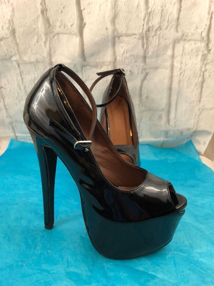 1308f5950308 Shoe Republic LA Black Stilettos With Ankle Straps Sexy High Heels Size 7  1 2
