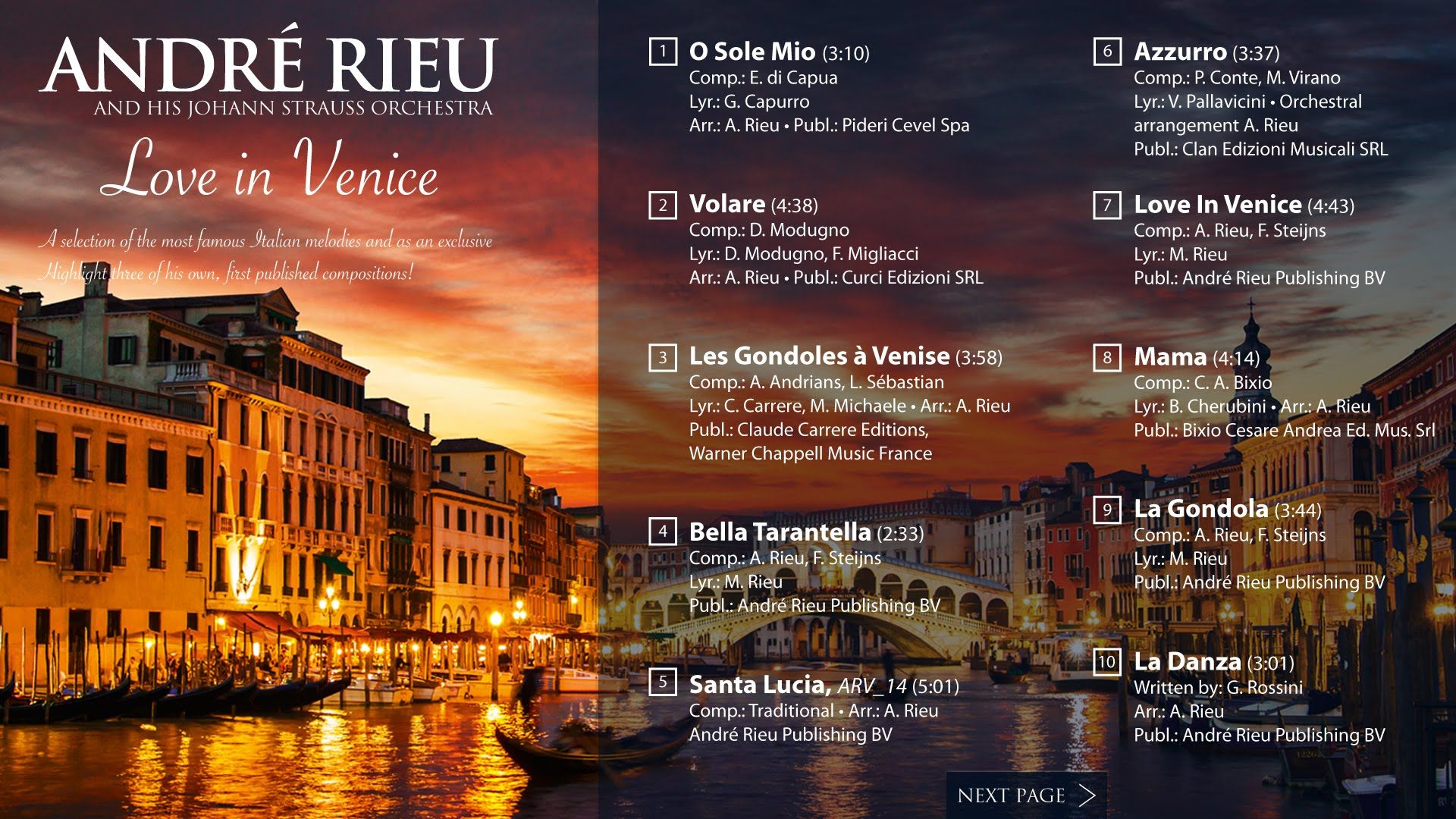 Andre Rieu Love In Venice Album Player