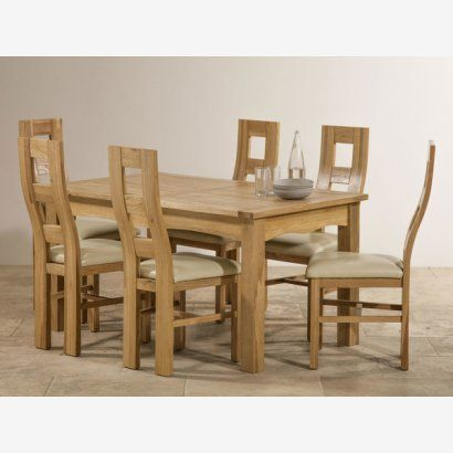 Cairo Natural Solid Oak Dining Set 5ft Extending Dining Table