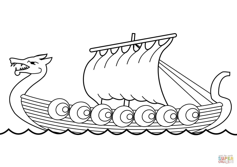 Vikingos Para Colorear Dibujo De Barco Vikingo Para Colorear