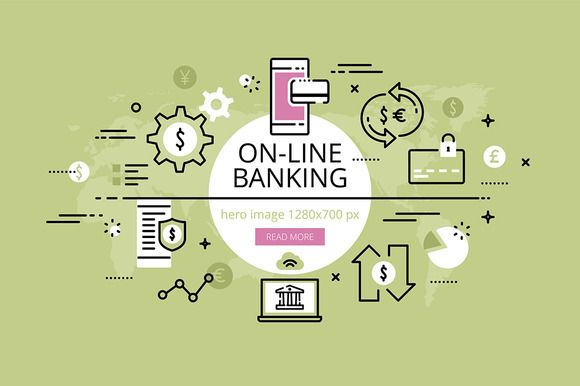 On-line banking hero banners set   @creativework247