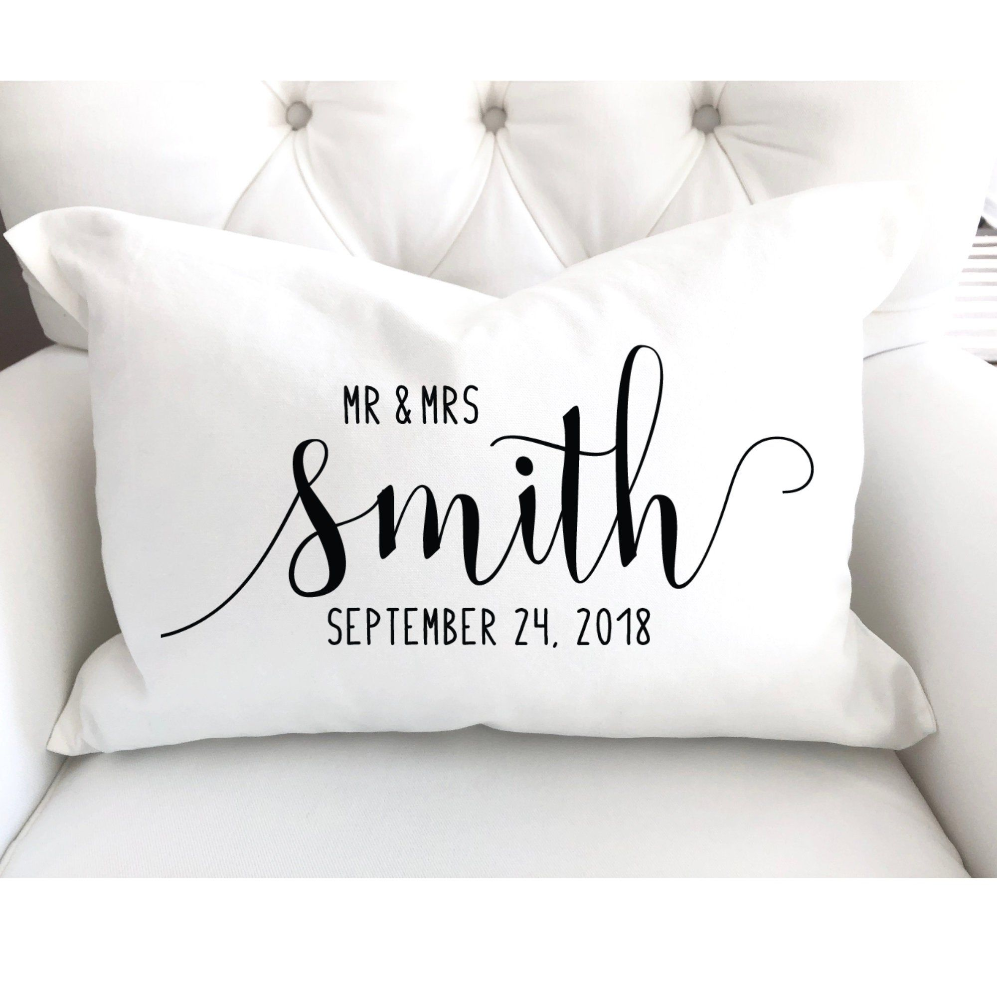 Personalized Pillow Last Name Gift Couples Throw Pillow Mr And