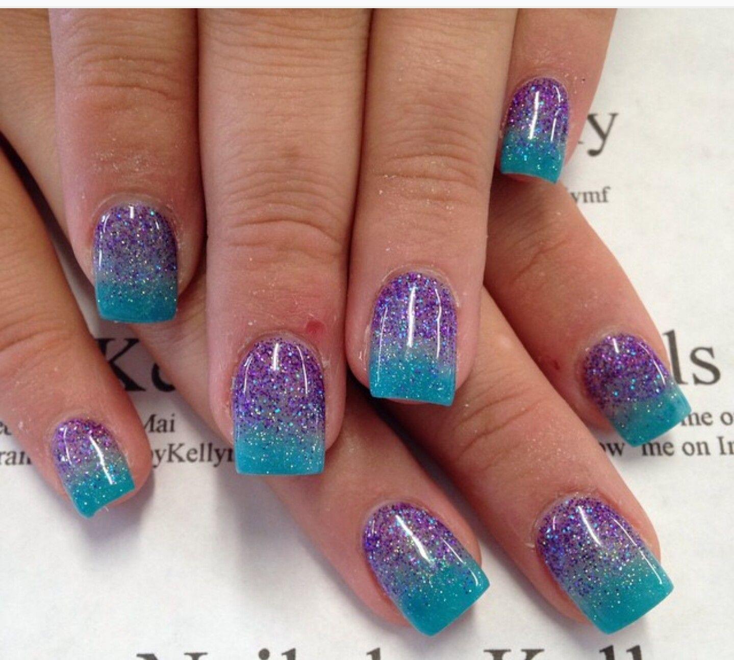 Blue/purple ombre glitter