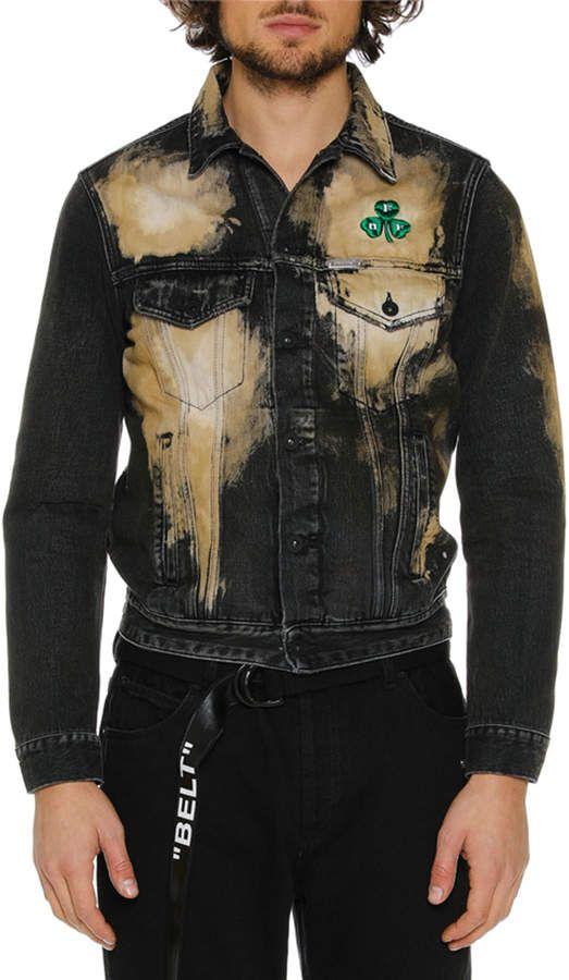 ae41b467764e Off-White Off White Men s Distressed Spots-Washed Slim Denim Jacket ...