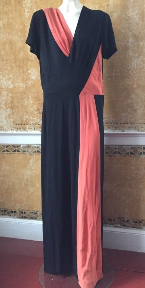 Vintage 1940s Color Block Swag Dress: 1940s Black & Coral Crepe Rayon Dress Asymmetrical Color