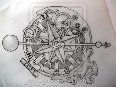 Compass Tattoo Line Drawing : Steampunk compass outline by tattoo design viantart