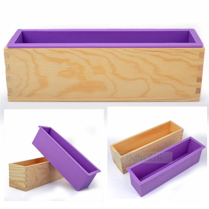 Silicone Rectangle Soap Cake ice Mold Wood Mould Box for Homemade Craft DIY