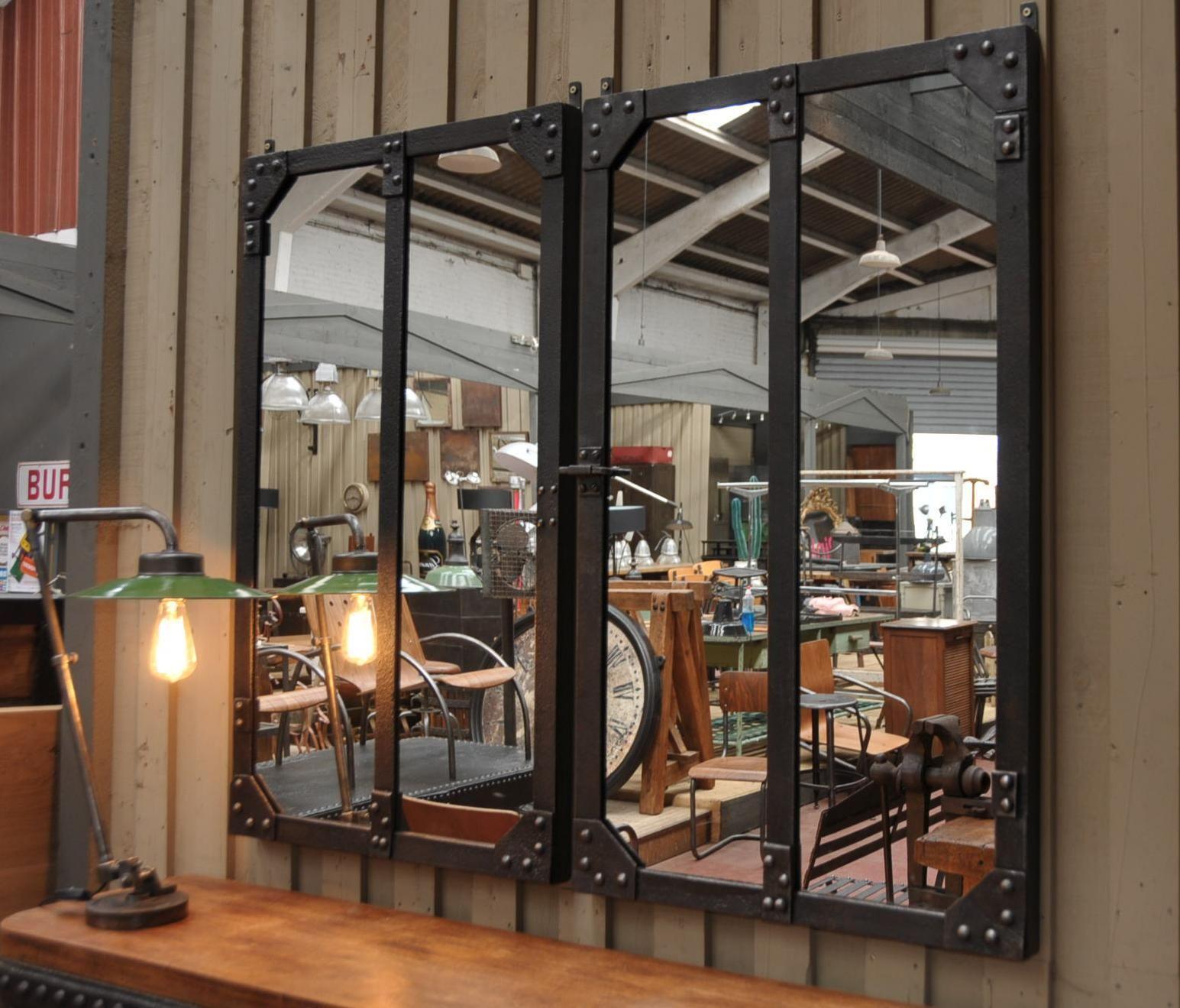 Paire de miroir industriel m tal rivet 1900 le grenier for Miroir industriel