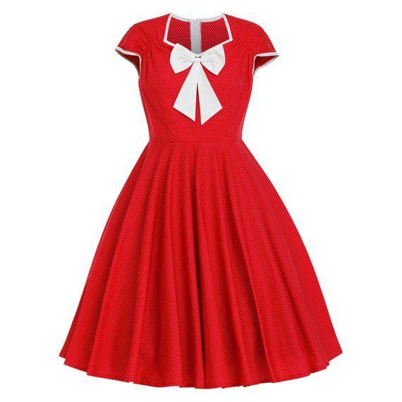 Christmas Dress Red Polka Dot Dress Vintage Dress Sun Dress Retro Dress Pinup Dress Rockabilly Dress