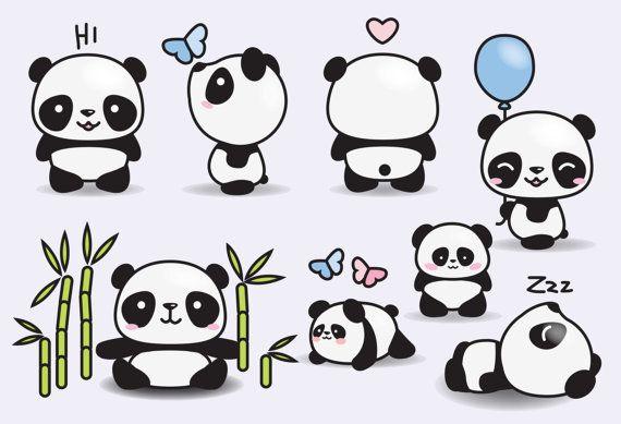 Premium Vector Clipart Kawaii Pandas Cute Pandas Clipart