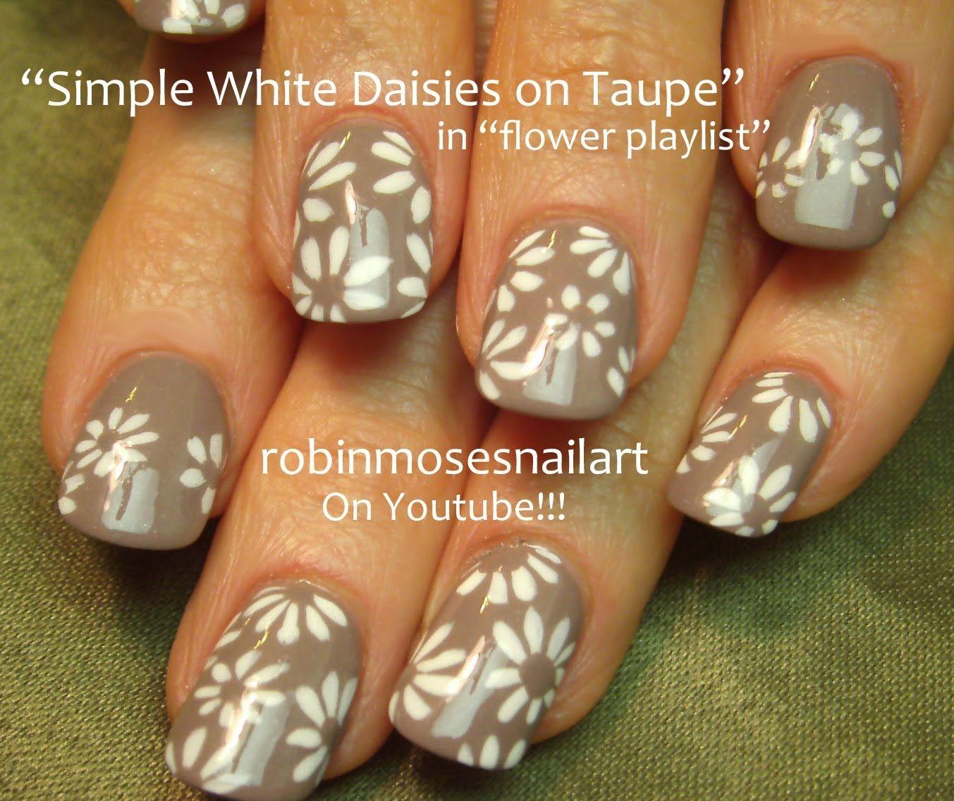 Nail art tutorial easy white daisies taupe nail design chosen