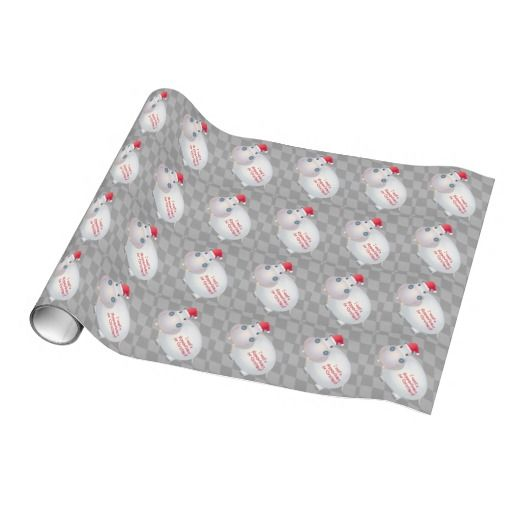 Unique Christmas Hippo Hippopotamus Santa Hat Wrapping Paper