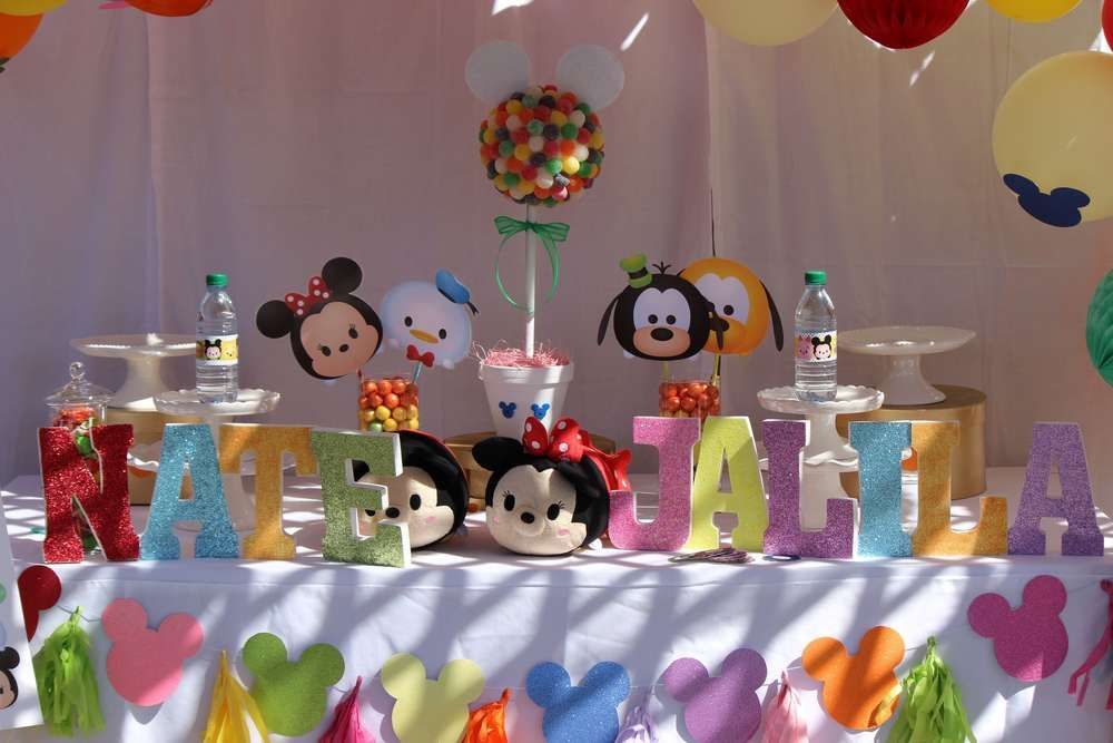 Tsum Tsum Birthday Party Ideas Photo 7 Of 57 Disney Birthday Party Tsum Tsum Party Third Birthday Party