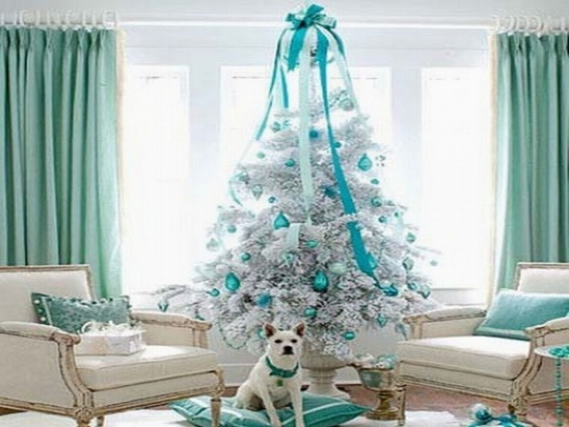 Best Luxury Living Room With Blue And White Theme With Awesome Christmas Tree Pohon Natal Natal 400 x 300