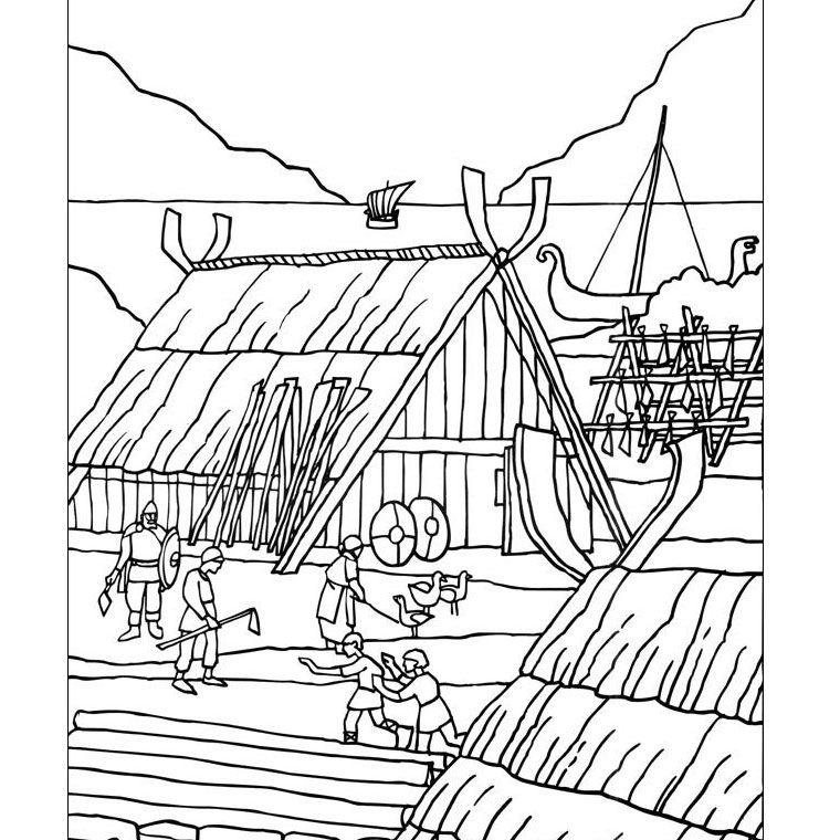 Coloriage village gaulois histoire 6 ans vikings - Village dessin ...