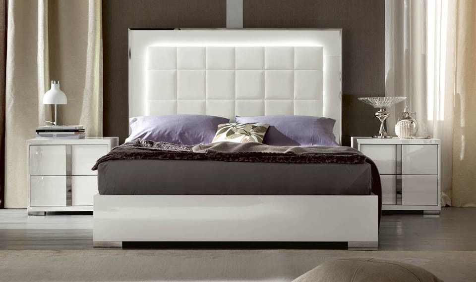 Bed Frame Headboard Light Up Nolawest Qualquest Alf Contemporary Bedroom Imperia Modern Bedroom Furniture White Gloss Bedroom Contemporary Bedroom