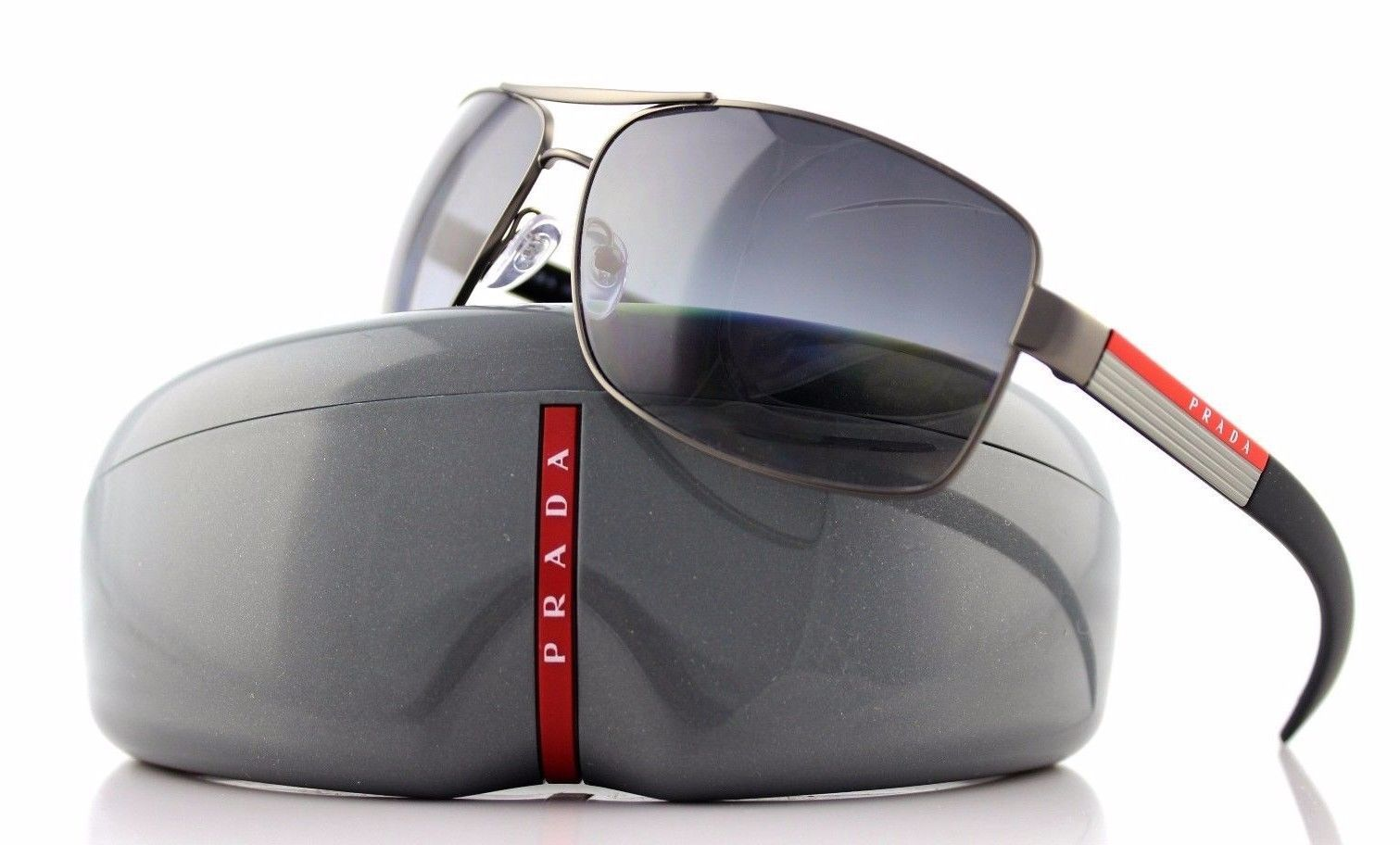 e4dd16a4f81 POLARIZED Rare Genuine PRADA Sport Mens Metal Sunglasses PS 54IS 7CQ5W1 SPS
