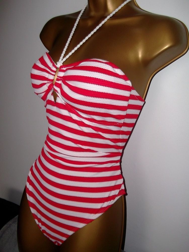 bcb194f5f9 SEXY LADIES RED PADDED HALTERNECK STRIPED SWIMSUIT SIZE 10  fashion   clothing  shoes  accessories  womensclothing  swimwear (ebay link)