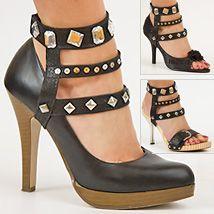 Damen Sandaletten mit hohem Stiletto Absatz  Schnürung   Glitzer Steine