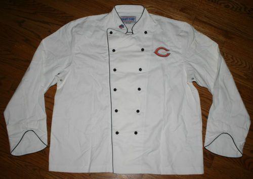 Chicago Bears Football Tailgate 29 Premier Chef Coat white Jacket-Mens Large-NFL